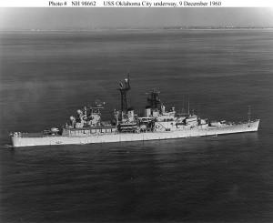 USS Oklahoma City, underway 9 December 1960 US Navy Photo NH98662
