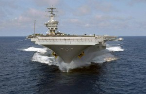 Bow view of the US Navy Aircraft Carrier USS NIMITZ (CVN 68) underway off the coast of Southern California. DoD Photo.