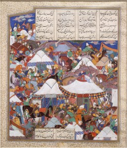 An army camp under attack, from the Shahnama (Book of Kings) of Shah Tahmasp, fol. 241r. Metropolitan Museum of Art.