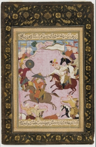 """The Battle between Shah Ismail and Abul-khayr Khan."" Folio from the Tarikh-i alam-aray-i Shah Ismail. Freer Gallery of Art, Smithsonian Institute."