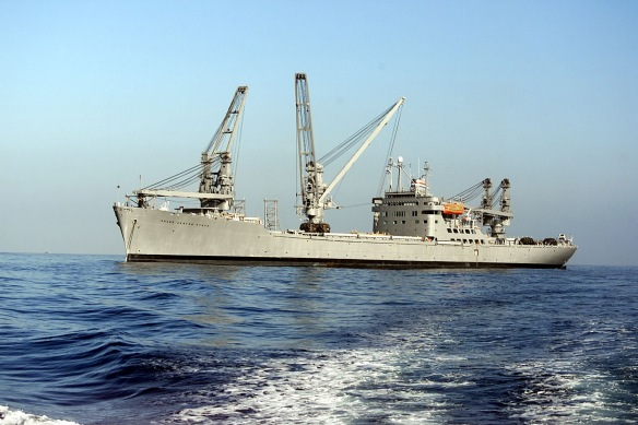 The eventual solution: the auxiliary crane ship  SS Grand Canyon State. US Navy photograph courtesy Wikipedia.