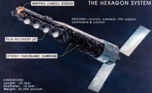 Much of the imagery for point positioning came from mapping cameras on the KH-9 HEXAGON satellite. NRO photograph courtesy Wikimedia.