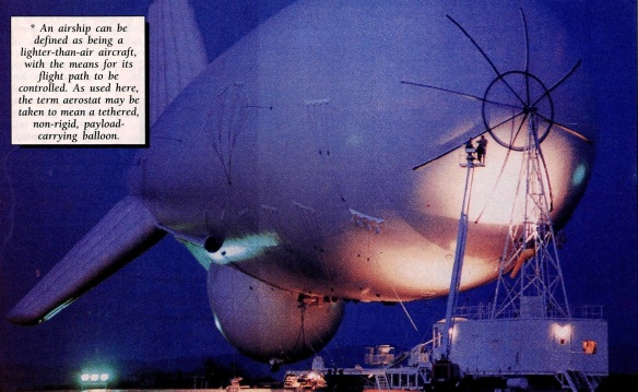 A TCOM 71M LASS aerostat. From Flight International, 11/17 Aug. 1993, p.40