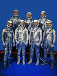 The Mercury Seven in their silver spacesuits. NASA photograph.